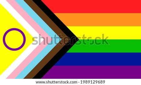 New LGBTQ Pride Flag Vector. New Updated Intersex Inclusive Progress Pride Flag. Banner Flag for LGBT, LGBTQ or LGBTQIA+ Pride.