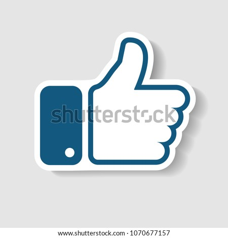 New Like icon. In trendy paper art style. Vector Illustration. Eps 10