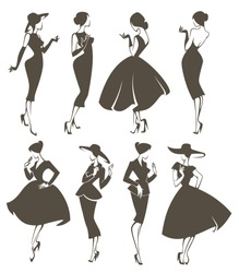new look girls, large vector collection of girls in retro style