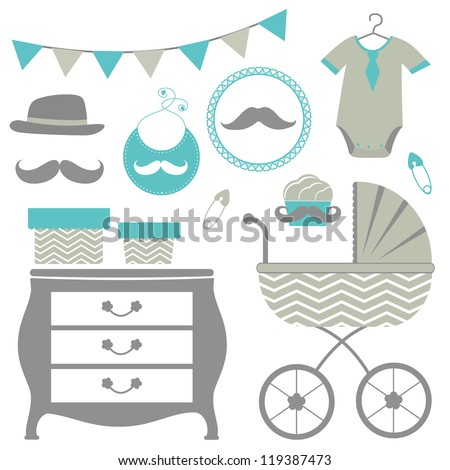 New man is coming baby shower set