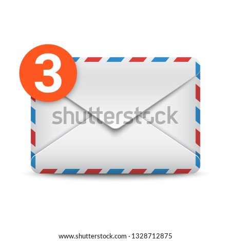 New message notification, three incoming messages, mail or email icon. Envelope with message counter. Vector illustration on white background