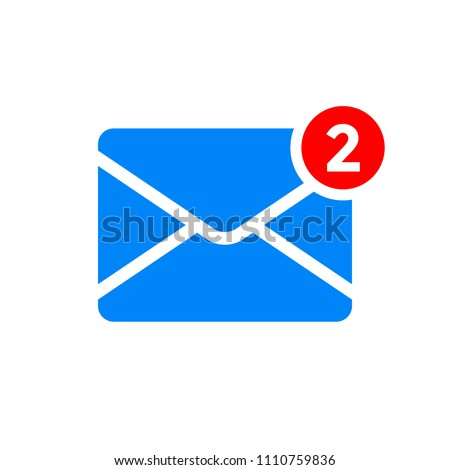 New message or inbox notification vector icon. Two incoming email messages in inbox