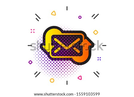 New Messages correspondence sign. Halftone circles pattern. Refresh Mail icon. E-mail symbol. Classic flat refresh Mail icon. Vector