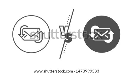 New Messages correspondence sign. Versus concept. Refresh Mail line icon. E-mail symbol. Line vs classic refresh Mail icon. Vector