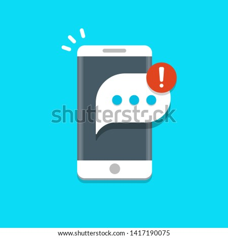 New messages notification on mobile phone vector illustration, message bubble on smartphone screen.