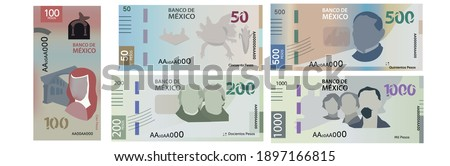New Mexican bills of 50, 100, 200, 500 and 1,000 pesos. Foto stock ©