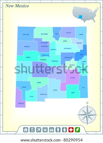 New Mexico State Map with Community Assistance and Activates Icons Original Illustration