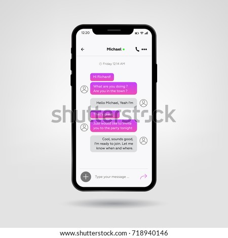 New Mobile phone X. Vector illustration. Social network concept. Messenger Chat window. Chat and messaging vector concept on a new smartphone.