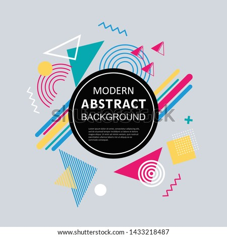 New modern abstract memphis geometry design for poster, flyer, banner, card, label and background template vector. #1433218487