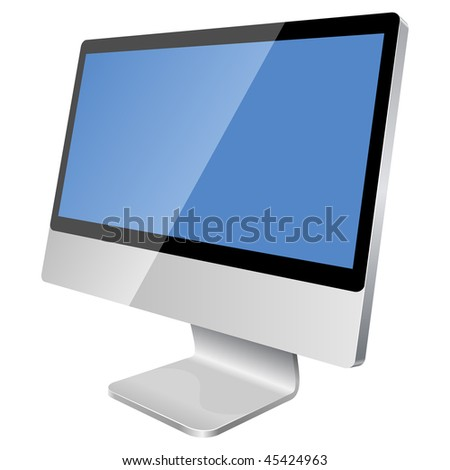 New modern blank monitor isolated on white background.