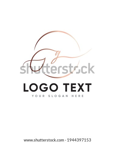 New modern calligraphy is more natural feel, handmade created with small touch of digital letter type G logo template, Vector logo for business and company identity  Stock fotó ©