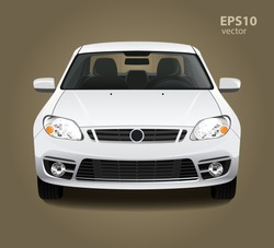 New modern clean shine white car. Front side view. Vector realistic hd 3d color illustration. Photo studio light.