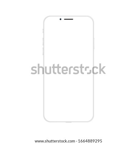 New modern smart phone mockup isolated on white. Cellphone mobile template. Vector illustration