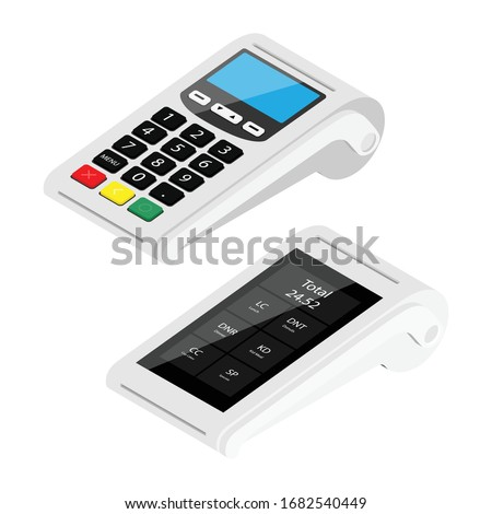 New modern smart pos terminal and POS terminal payment machine isolated on white background. Bank Payment Terminals. Processing NFC payment devices. Isometric view