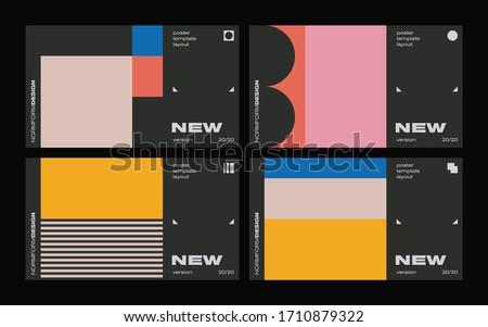 New modernism aesthetics in vector poster design cards. Brutalism inspired graphics in web template layouts made with abstract geometric shapes, useful for poster art, website headers, digital prints.