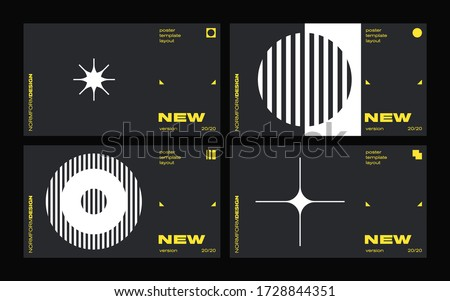 New modernism aesthetics in vector poster design cards. Brutalism inspired graphics in web template layouts made with abstract geometric shapes, useful for poster art, website headers, digital prints. Stock fotó ©