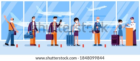 New norma - people in masks observe social distance in the airport check-in line. Passengers at the airport during a pandemic. Vector illustration. Сток-фото ©