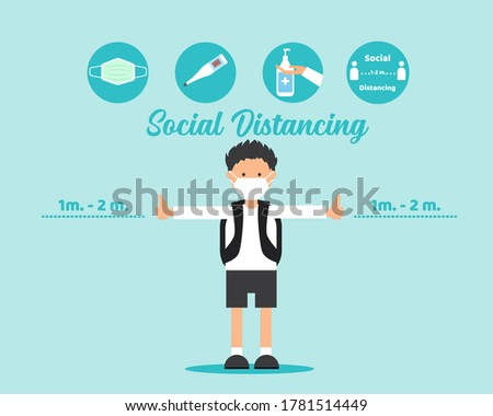 NEW NORMAL AFTER COVID CONCEPT: There is a student boy wears face mask with four signs, wear face mask, clean your hands, check temperature, keep distancing. For protect corona virus. Photo stock ©