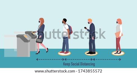 New normal and Social distancing when go back to work after coronavirus covid 19 spread concept. People (wearing mask) keep distance while queueing at automatic ticket gate. Flat vector Illustration.