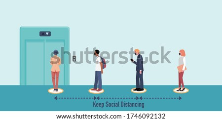 New normal and Social distancing when go back to work after coronavirus covid 19 spread concept. People wearing mask  keep distance when waiting for elevator (lift) . Flat vector Illustration.