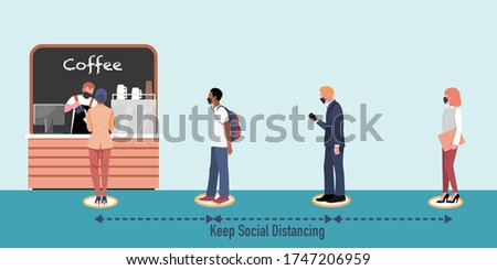 New normal and Social distancing when go back to work after coronavirus covid 19 spread concept. People wearing mask, keep distance when waiting at Coffee shop (Cafe) . Flat vector Illustration.