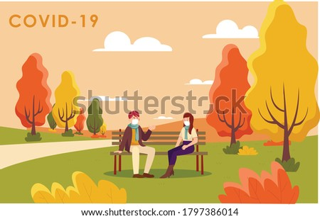 new normal autumn covid19 couple characters with mask protection Photo stock ©
