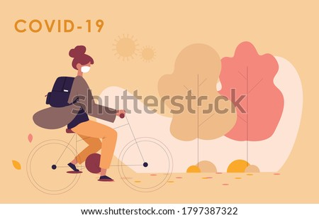 new normal autumn covid19 woman bike with mask protection Photo stock ©