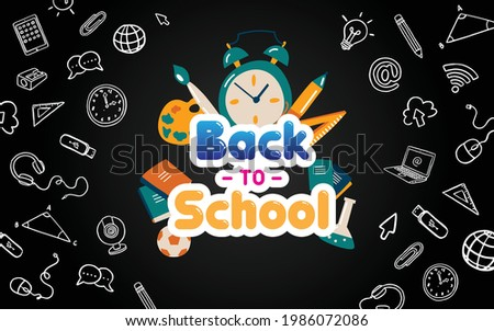 new normal back to school online flat icon vector black borde background  Photo stock ©