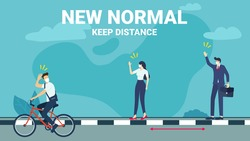New normal concept and keep distance in public society. man riding a bicycle, businessman and woman keep a distance in a meeting. New normal after COVID-19 pandemic concept