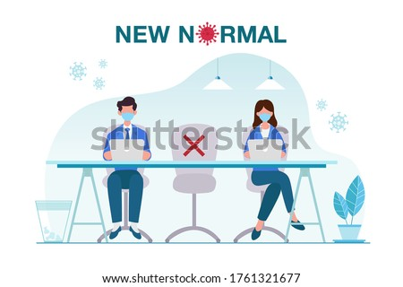 New normal concept illustration with office people keep distance from each other and working with face mask prevention from disease outbreak. New normal after Covid-19 pandemic concept