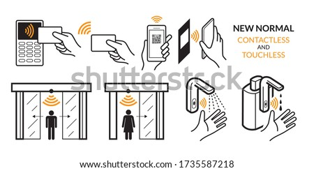 New Normal, Contactless Payment and Touchless Technology, Wireless, Credit Card, Smart Card, and Smartphone. Automatic Door, Faucet and Alcohol Dispenser
