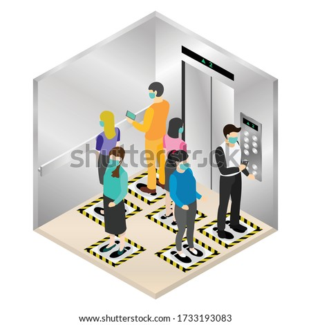 New normal isometric, Social distancing with floor signs inside elevator for protect pandemic of virus Covid-19, COVID-19 Quarantine. Pandemic Coronavirus Reducing risk of infection.