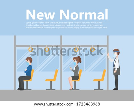 New normal life People in business casual outfits social distancing wearing a surgical protective Medical mask and face shield for prevent coronavirus standing on the bus going to work, Health care co