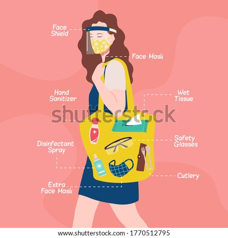 New normal lifestyle. A woman wearing face shield and mask carrying a bag filled with must have items to prevent corona virus spread. Covid-19 essential items. Flat style vector design.