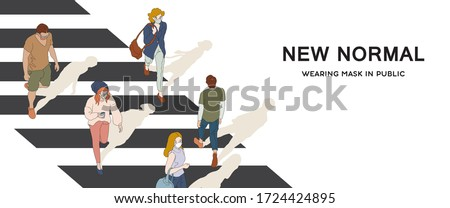 New normal lifestyle. People wearing mask in public. Hand drawn vector illustration.