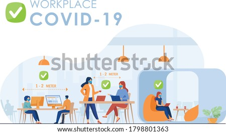 new normal mask at workplace social distancing office desk covid19 coronavirus Photo stock ©