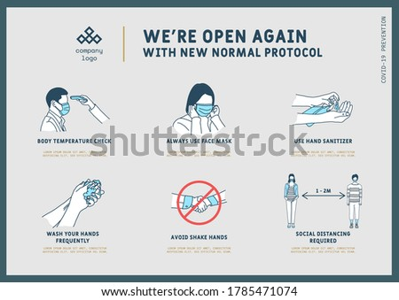 New normal pandemic protocol guide, Coronavirus Outbreak Tips template. Vector illustration Foto stock ©