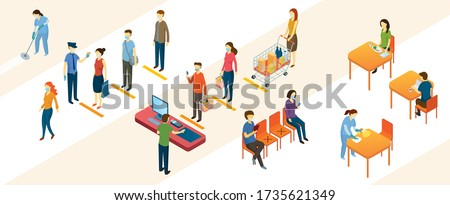 New Normal, People in Social Distancing and Contactless Payment, Shopping Mall and Store, Prevention of Coronavirus Covid-19
