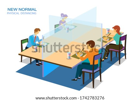 New normal, physical social distancing concept in restaurant : a man and a woman sit a distance apart in food center, a restaurant or a cafe . COVID-19 pandemic time. Vector illustration, Flat design