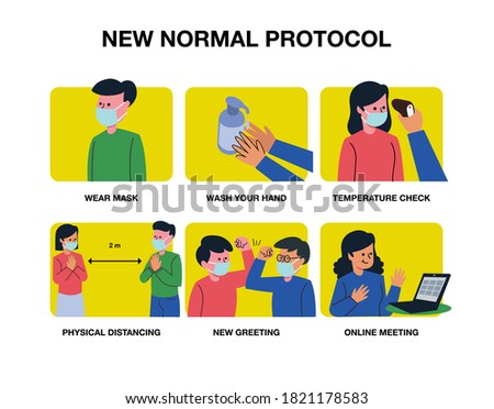 New normal protocol poster or public health practices for covid  vector illustrations Foto stock ©