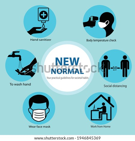 New normal . Your practical guidelines for societal habits .To prevent corona virus spreading. wear a protective mask in public, to wash hand, body temperature check,hand sanitizer and social distance Foto d'archivio ©