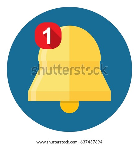 New Notification Icon, hand bell sign, flat style - Vector illustration