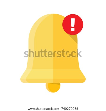 New Notification Icon, hand bell sign, isolated on white background, flat style Vector illustration
