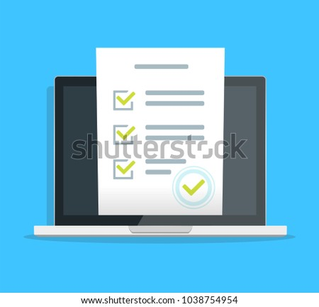New Online form survey on laptop PCs dark screen , flat design Quiz exam paper, sheet document, electronic voting, studying  web ob display of mac. Dark. EPS 10
