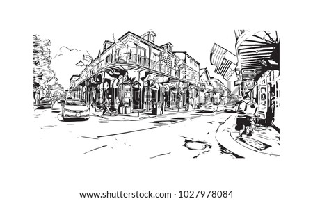 New Orleans City in Louisiana, USA. Hand drawn sketch illustration in vector.