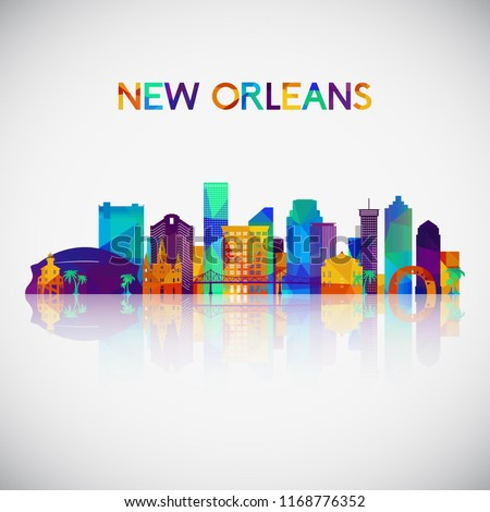 New Orleans skyline silhouette in colorful geometric style. Symbol for your design. Vector illustration.