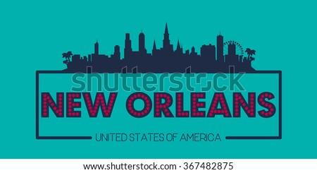 New Orleans skyline silhouette poster vector design illustration