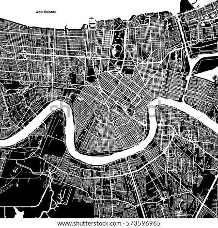 New Orleans Vector Map, Artprint. Black Landmass, White Water and Roads.