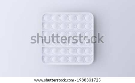 New popular sensory anti-stress toy - Pop it. White toy isolated on a white background. Realistic vector 3D illustration