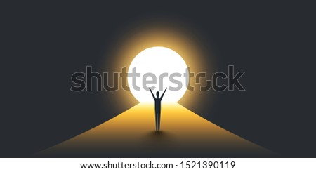 New Possibilities, Hope - Business Finding Solution Vector Concept - Businessman Standing in Dark, Symbol of Light at the End of the Tunnel ストックフォト ©